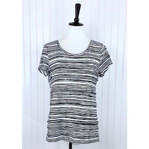 LOFT • Black Cream Stripe Tiered Tee Shirt • L